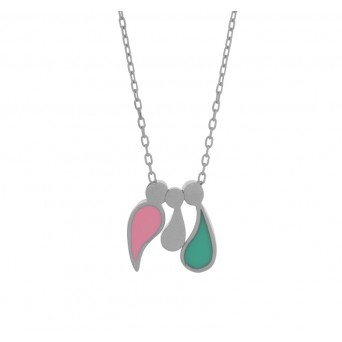 Jt Sterling silver family charm necklace with enamel