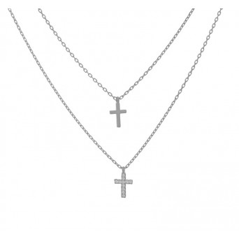 Jt Sterling Silver Cross Layered Necklace with Ziconia