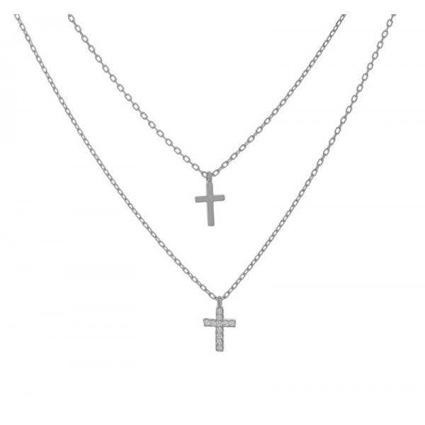 Jt Ασημένιο διπλό κολιέ σταυρός με ζιργκόν