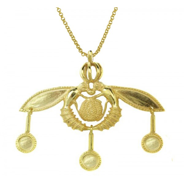 Jt Gold Plated Silver Greek Minoan Bees Necklace