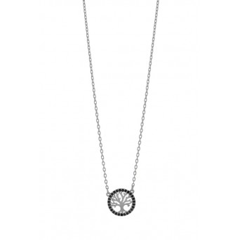 Jt Sterling silver Life Tree necklace with black ziconia