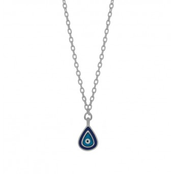 Jt Sterling silver eye drop necklace with enamel