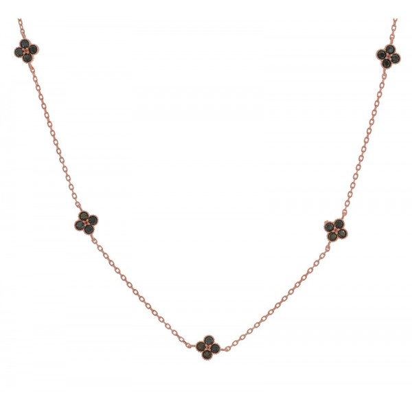 Jt Rose silver chain necklace with black zirconia crosses