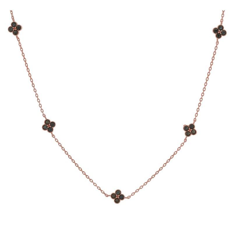 Jt Ασημένιο κολιέ ροζ αλυσίδα με σταυρούς από μαύρα ζιργκόν ba78eacc4f0