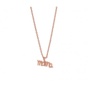 Jt Rose silver chain mama necklace