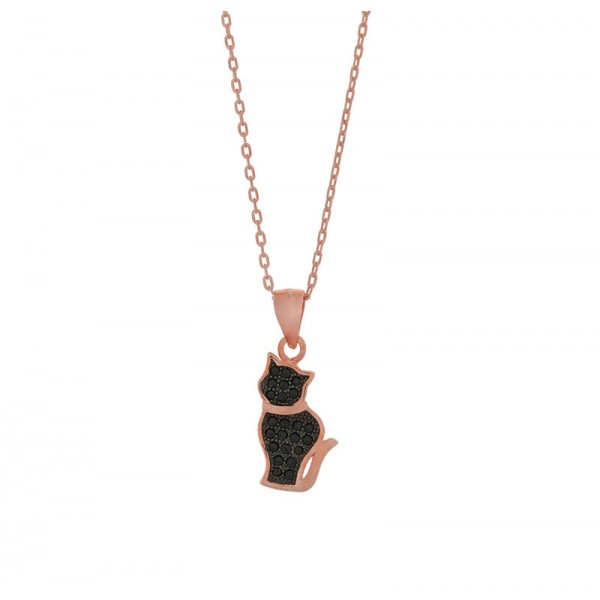 Jt Rose gold silver kitty necklace with black zirconia