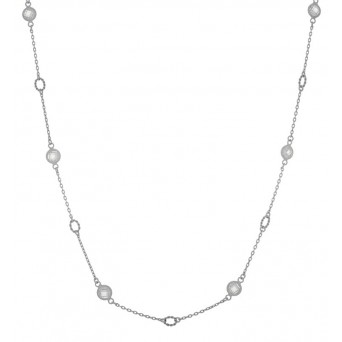 Jt Sterling silver chain necklace with round zirconia