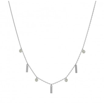 Jt Sterling Silver Tranparent Zirconia Necklace