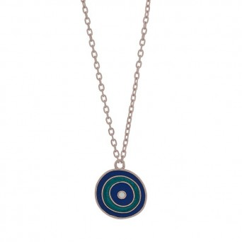 Jt Silver chain target eye necklace with blue enamel