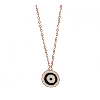 Jt Rose silver chain target eye necklace with enamel