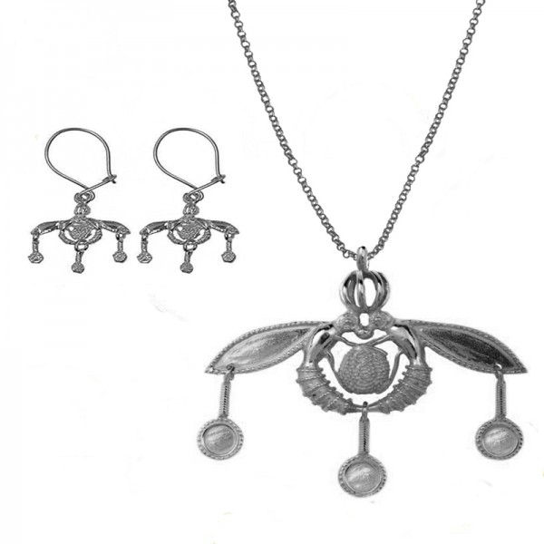 Jt Oxidized Silver Greek Minoan Bees Set