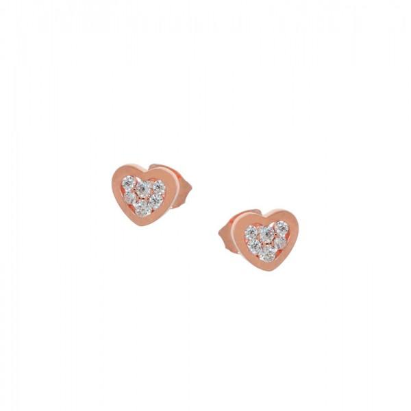 Jt Rose Sterling Silver White Zirconia Stud Heart Earrings