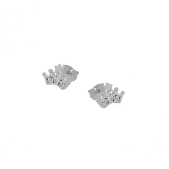 Jt Silver Zirconia Stud Little Crown Earrings