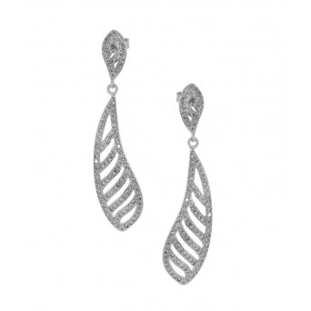 Jt Sterling Silver Zirconia Drop Earrings