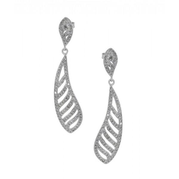 Jt Sterling Silver Zirconia Drop Earrings