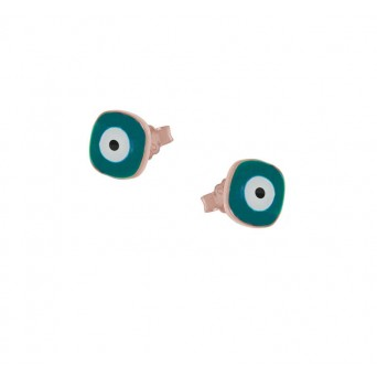 Jt Rose Silver Stud Eye Earrings with petroleum blue enamel