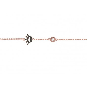 Jt Rose gold plated silver black zirconia crown bracelet