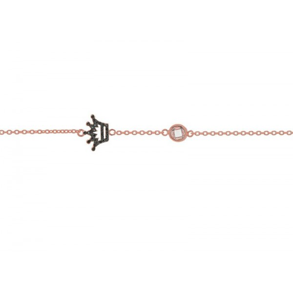 Jt Rose gold plated silver black zirconia crown bracelet