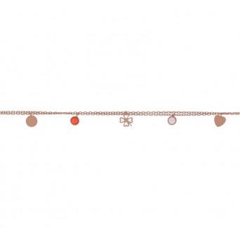 Jt Rose gold silver four-leaf clover zirconia bracelet