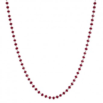 Jt Steel rosary necklace with red crystals