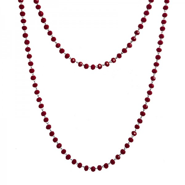 Jt Long steel rosary necklace with burgundy crystals