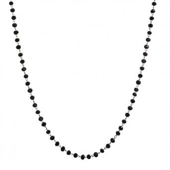 Jt Rose steel rosary necklace with black crystals