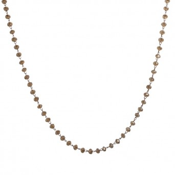 Jt Rose steel rosary necklace with golden crystals