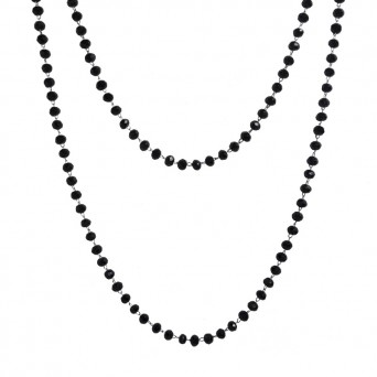 Jt Long steel rosary necklace with black crystals