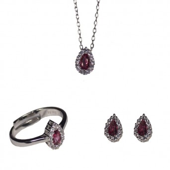 Jt Silver jewelry tear set with zirconia