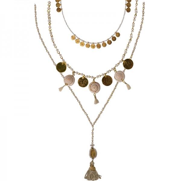 Jt Bronze gold boho necklace set seashells, coins, beads