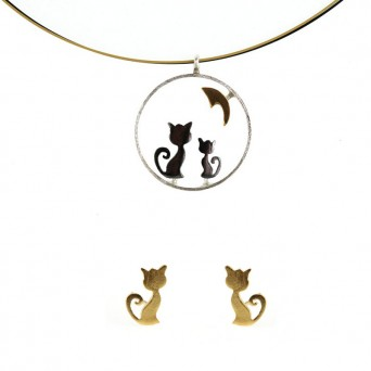 Stelios Gold plated silver cats set