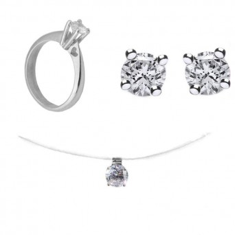 Jt Silver set of solitaire necklace, earrings, ring