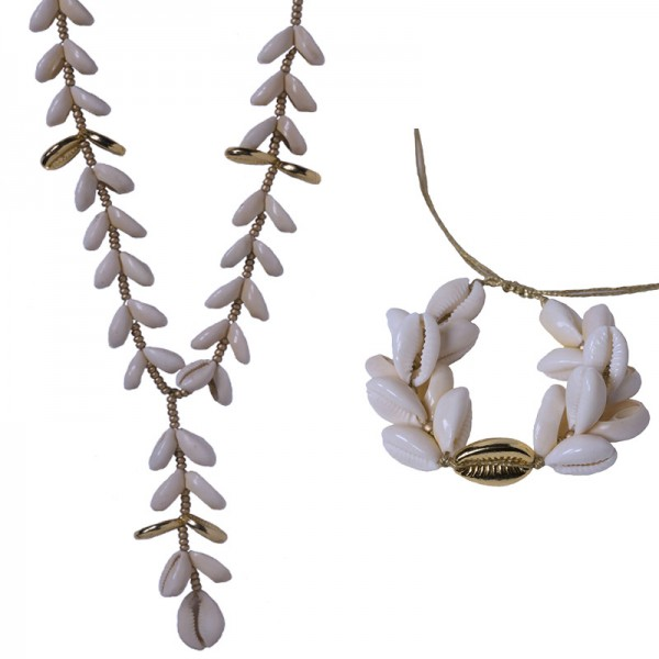 Jt gold plated bronze set with seashells