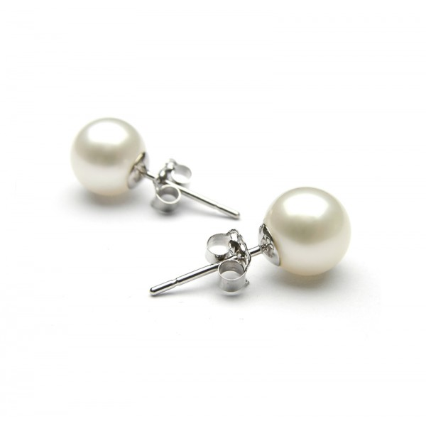 Jt Sterling Silver White Pearls 10mm Stud Earrings