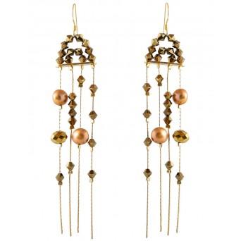 Jt Ασημένια σκουλαρίκια βροχή με χρυσαφί μαργαριτάρια και Swarovski