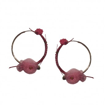 Jt Silver Rose Hoop Earrings with Lace and Swarovski