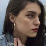 VFJ Rose gold plated silver hoop earrings 4cm