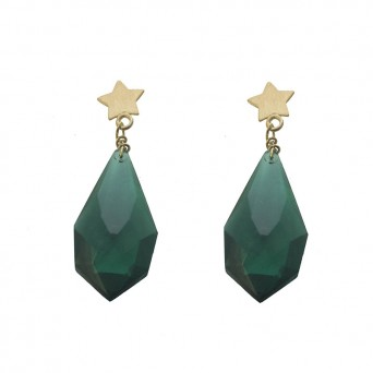 Jt Gold plated star earings with green Preciosa crystal