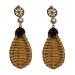 Jt Gold plated white grass and pearl dangle boho earrings