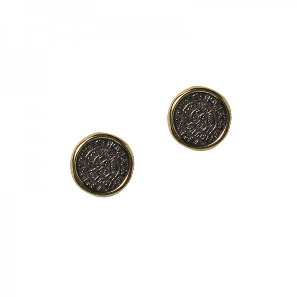 Jt Gold plated silver Faistos disc earrings