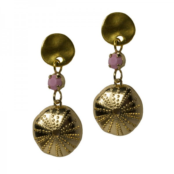 Jt Gold plated bronze Sea urchin earrings with crystal