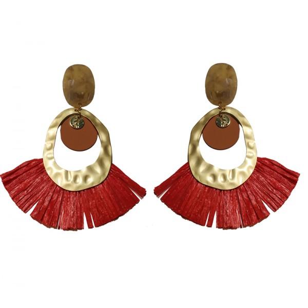 Jt Gold plated red grass Boho dangle earrings
