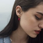 Jt Silver drop earrings red coral