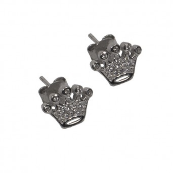 VFJ Sterling Silver White Zirconia Crown Earrings