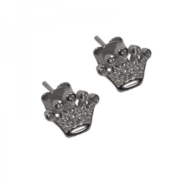 VFJ Sterling Silver White Zirconia Crown Earrings