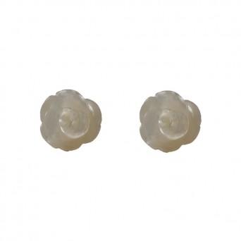 Jt Silver stud white rose earrings