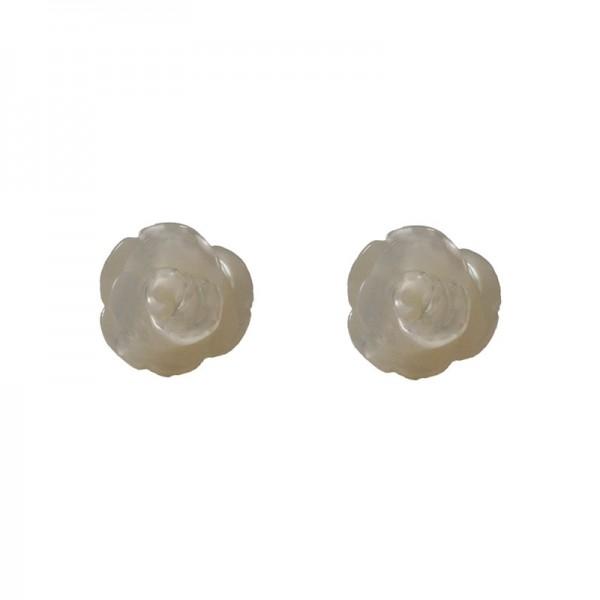 Jt Ασημένια σκουλαρίκια λευκά τριαντάφυλλα
