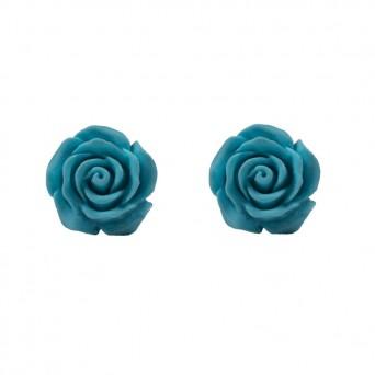 Jt Ασημένια σκουλαρίκια τιρκουάζ τριαντάφυλλα
