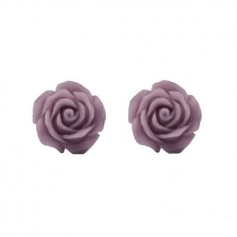 Jt Ασημένια σκουλαρίκια τριαντάφυλλα μοβ ανοιχτό