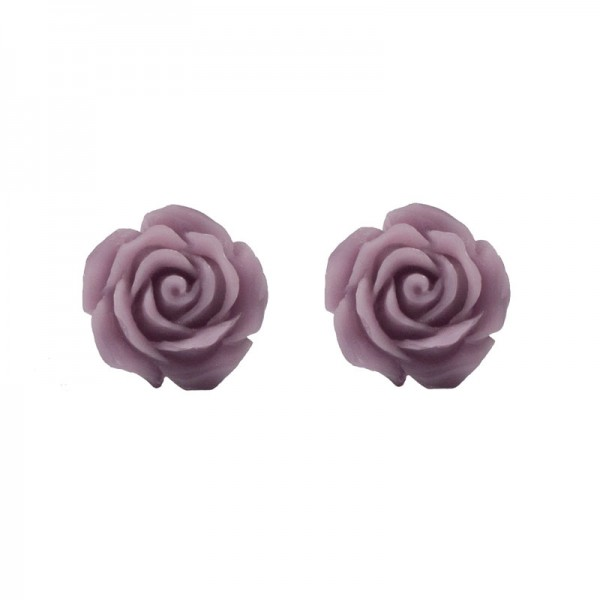 Jt Silver stud light purple rose earrings